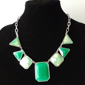 Fashion necklace with green faux stones